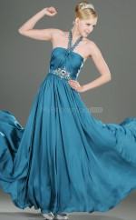 Ocean Blue Chiffon A-line Halter Long Bridesmaid Dresses (NZBD06464)