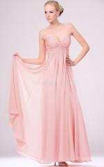 Pink Chiffon A-line Sweetheart Long Bridesmaid Dresses (NZBD06465)
