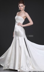 Ivory Stretch Satin Sheath One Shoulder Long Bridesmaid Dresses (NZBD06473)