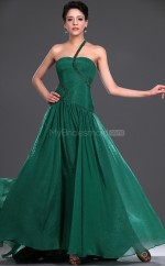 Dark Green Silk Like Chiffon A-line One Shoulder Long Bridesmaid Dresses (NZBD06476)