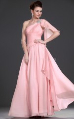 Pink Chiffon A-line One Shoulder Long Bridesmaid Dresses (NZBD06478)