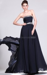 Ink Blue Chiffon A-line Strapless Long Bridesmaid Dresses (NZBD06481)