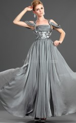 Silver Chiffon A-line Off The Shoulder Long Bridesmaid Dresses (NZBD06482)