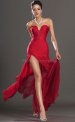 Red Silk Like Chiffon Mermaid Sweetheart Floor-length Vintage Bridesmaid Dresses (NZBD06483)