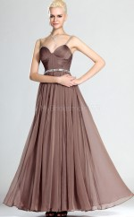 Brown Chiffon A-line Straps Long Bridesmaid Dresses (NZBD06485)