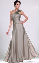 Silver Matte Satin A-line One Shoulder Long Bridesmaid Dresses (NZBD06489)