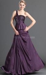Grape Silk Like Chiffon A-line One Shoulder Long Bridesmaid Dresses (NZBD06491)