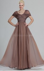 Brown Chiffon A-line One Shoulder Long Bridesmaid Dresses (NZBD06493)