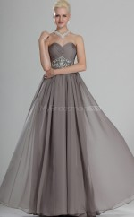 Silver Chiffon A-line Sweetheart Long Bridesmaid Dresses (NZBD06494)