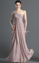 Lavender Chiffon Sheath One Shoulder Long Bridesmaid Dresses (NZBD06496)
