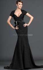 Black Satin Mermaid Scalloped Long Bridesmaid Dresses (NZBD06500)