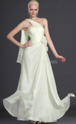 Ivory Silk Like Chiffon A-Line One Shoulder Long Bridesmaid Dresses (NZBD06501)