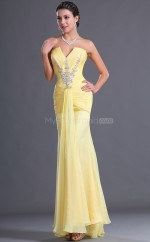Yellow Chiffon Mermaid Strapless Long Bridesmaid Dresses (NZBD06504)