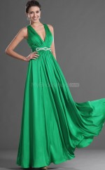 Clover Chiffon A-line V-neck Long Bridesmaid Dresses (NZBD06505)