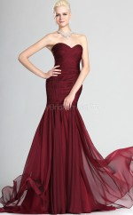 Burgundy Chiffon Mermaid Off The Shoulder Long Bridesmaid Dresses (NZBD06507)