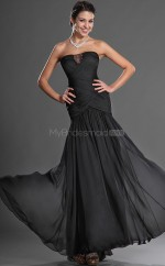 Black Chiffon Mermaid Strapless Long Bridesmaid Dresses (NZBD06511)