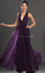 Grape Chiffon Sheath V-neck Long Bridesmaid Dresses (NZBD06512)