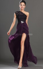 Grape Chiffon Mermaid One Shoulder Floor-length Long Bridesmaid Dresses (NZBD06514)