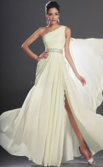 Ivory Chiffon A-line One Shoulder Long Bridesmaid Dresses (NZBD06518)
