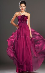 Fuchsia Chiffon A-line Strapless Long Bridesmaid Dresses (NZBD06520)