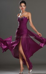 Grape Chiffon Mermaid Sweetheart Long Bridesmaid Dresses (NZBD06523)