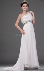 Ivory Chiffon A-line One Shoulder Long Bridesmaid Dresses (NZBD06524)