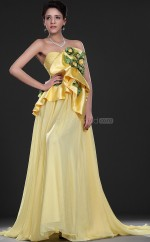 Yellow Chiffon A-line Sweetheart Long Bridesmaid Dresses (NZBD06525)
