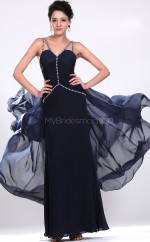 Ink Blue Chiffon Sheath Sweetheart Long Bridesmaid Dresses (NZBD06528)