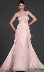 Pink Chiffon A-line Strapless Long Bridesmaid Dresses (NZBD06529)