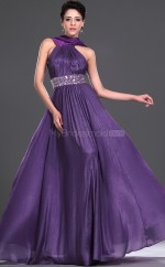Regency Organza A-line Halter Long Bridesmaid Dresses (NZBD06530)