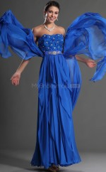 Ocean Blue Chiffon A-line Strapless Long Bridesmaid Dresses (NZBD06532)