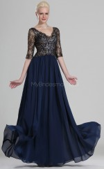 Ink Blue Lace A-line V-neck Long Bridesmaid Dresses (NZBD06535)