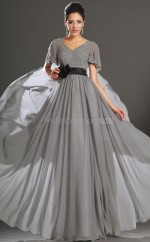 Silver Chiffon A-line V-neck Long Bridesmaid Dresses (NZBD06538)