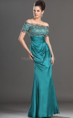 Jade Sheath Off The Shoulder Long Bridesmaid Dresses (NZBD06539)