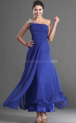 Royal Blue Chiffon A-line One Shoulder Long Bridesmaid Dresses (NZBD06541)