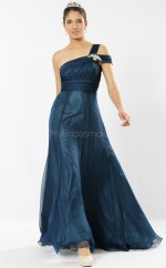 Ink Blue Chiffon A-line One Shoulder Long Bridesmaid Dresses (NZBD06542)
