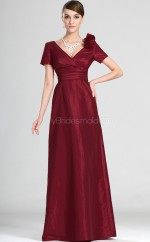 Burgundy Chiffon A-line V-neck Long Bridesmaid Dresses (NZBD06543)