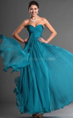 Ocean Blue Chiffon A-line Sweetheart Long Bridesmaid Dresses (NZBD06544)
