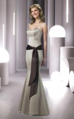 Silver Satin Mermaid Sweetheart Long Bridesmaid Dresses (NZBD06549)