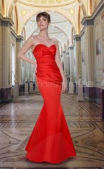 Red Stretch Satin Mermaid Sweetheart Long Bridesmaid Dresses (NZBD06551)