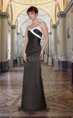 Black Satin Mermaid Sweetheart Long Bridesmaid Dresses (NZBD06554)