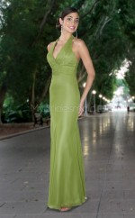 Sage Matte Satin Mermaid Halter Long Bridesmaid Dresses (NZBD06557)