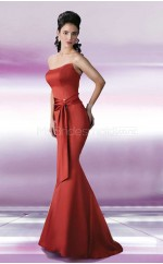 Burgundy Satin Mermaid Strapless Long Bridesmaid Dresses (NZBD06565)