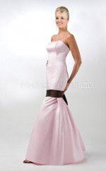 Pink Satin Mermaid Strapless Long Bridesmaid Dresses (NZBD06566)