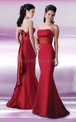 Burgundy Satin Mermaid Strapless Long Bridesmaid Dresses (NZBD06571)