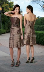 Brown Taffeta A-line Strapless Short Bridesmaid Dresses (NZBD06574)