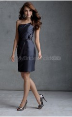 Black Satin Sheath One Shoulder Knee-length Bridesmaid Dresses (NZBD06576)