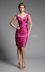 Fuchsia Stretch Satin Sheath Off The Shoulder Knee-length Bridesmaid Dresses (NZBD06580)