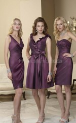 Grape Matte Satin Sheath V-neck Knee-length Bridesmaid Dresses (NZBD06582)