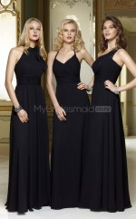 Black Chiffon A-line Halter Long Bridesmaid Dresses (NZBD06585)